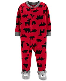 Baby Boys 1-Pc. Woodland Creatures Fleece Footie Pajamas