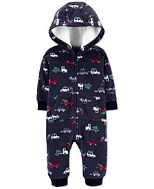 Baby Boys Holiday-Print Fleece Coverall