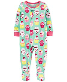 Baby Girls 1-Pc. Cupcake Fleece Footie Pajamas