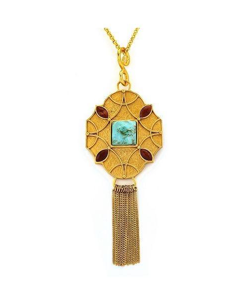 Stephanie by Stephanie Kantis Stephanie Kantis Pendant - Santorini Large - Faceted Turquoise, Faceted Red Jasper