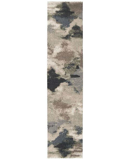 Palmetto Living ORI409383 Mystical Harlequin Muted Blue 2'3 x 8' Runner Rug