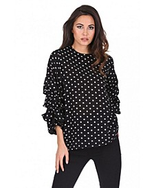 Women's Polka Dot Ruffle Sleeve Top