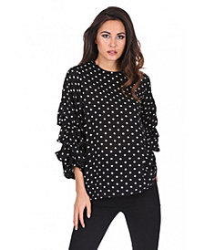 AX Paris Women's Polka Dot Ruffle Sleeve Top
