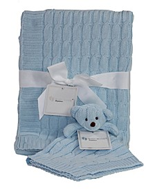 3 Stories Trading Cable Knit Baby Blanket Gift Set