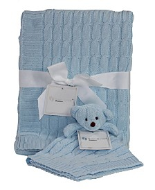 Baby Mode Signature Cable Knit Baby Blanket Gift Set