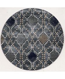 "CLOSEOUT! 3797/1025/Gray Imperia Gray 7'10"" x 7'10"" Round Area Rug"