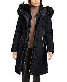 Petite Quilted Faux-Fur-Trim Hooded Puffer Coat