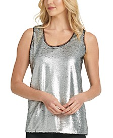Contrast-Trim Sequin Top