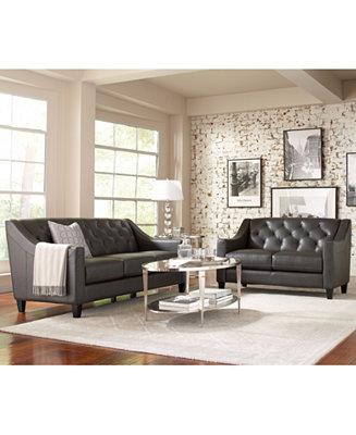 Claudia II Leather Sofa Living Room Furniture Collection Furniture Macy
