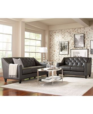claudia ii leather sofa living room furniture collection