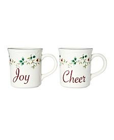 Winterberry Sentiments Joy Cheer Mugs, Set of 2