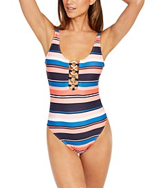 Striped Chain-Ring One-Piece Swimsuit