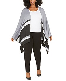 Plus Size Contrast-Striped Poncho