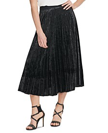 Pleated Velvet Pull-On Skirt