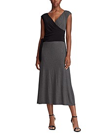 Two-Tone Wrap-Style Dress