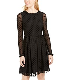 Juniors' Sheer Polka Dot Tie-Back Dress