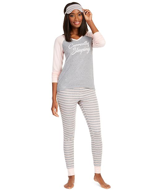 Jenni Knit Pajamas & Sleep Mask 3pc Set, Created For Macy's