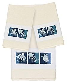 100% Turkish Cotton Ava 3-Pc. Embellished Bath and Hand Towel Set