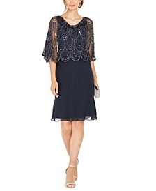 Sequined Scalloped Capelet Dress