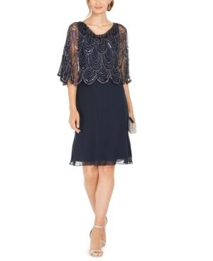 1920s Evening Dresses & Formal Gowns J Kara Sequined Scalloped Capelet Dress $269.00 AT vintagedancer.com