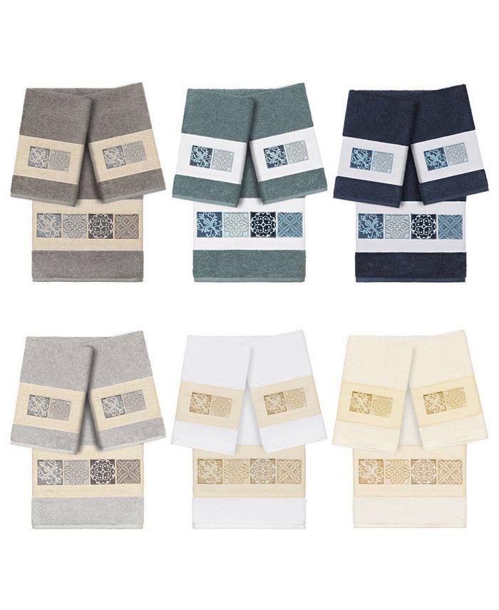 Linum Home - 100% Turkish Cotton Vivian 3-Pc. Embellished Towel Set