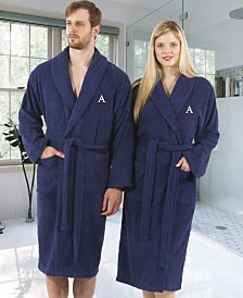 Linum Home 100% Turkish Cotton Personalized Terry Bath Robe - Navy