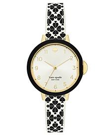 Women's Park Row Black & White Spade Flower Silicone Strap Watch 34mm