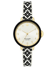 Kate Spade New York Women's Park Row Black & White Spade Flower Silicone Strap Watch 34mm