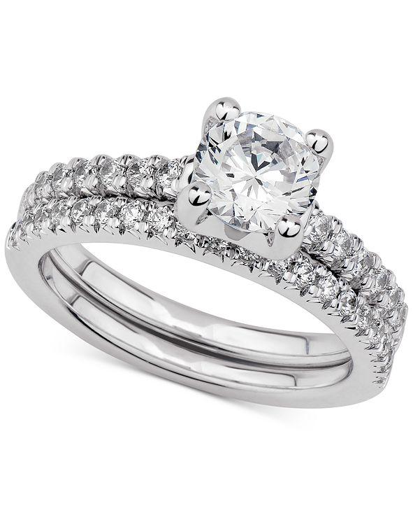 GIA Certified Diamonds  GIA Certified Diamond Bridal Set (1-1/2 ct. t.w.) in 14k White Gold