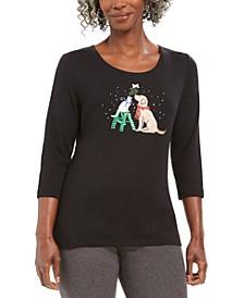 Embellished Mistletoe Animal Print Graphic T-Shirt, Created For Macy's