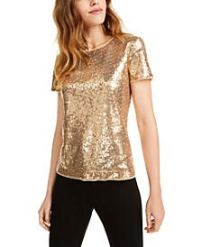 Short-Sleeve Sequined Top, Created For Macy's