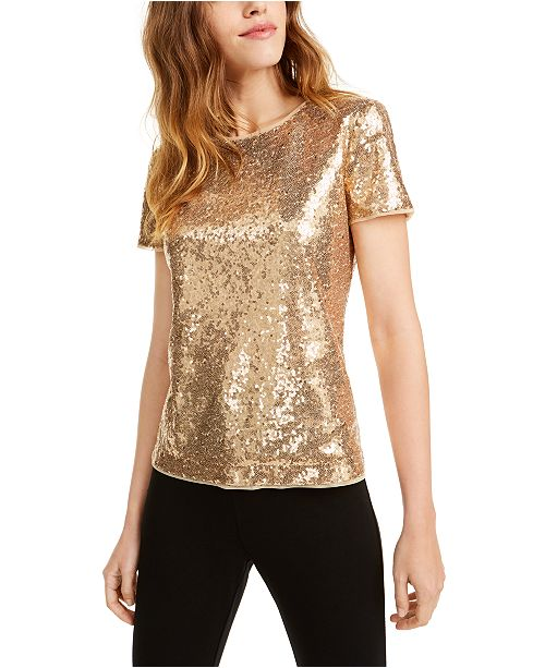 Maison Jules Short-Sleeve Sequined Top, Created For Macy's