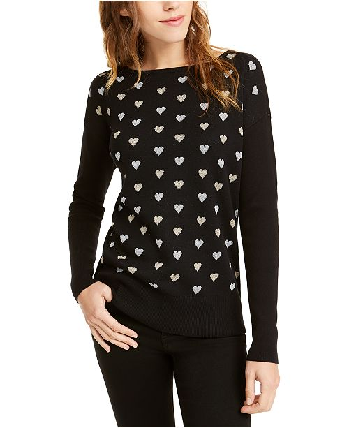 Maison Jules Heart-Print Sweater, Created For Macy's