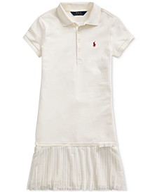 Big Girls Pleated Mesh Polo Dress