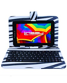 "7"" New Quad Core Tablet Bundle with Zebra Style Keyboard Android 6.0 Dual Camera"