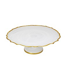 Alabaster Cake Stand with Gold-tone Trim