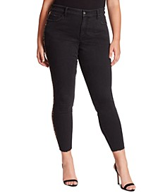Trendy Plus Size Adored Side-Stripe High-Rise Skinny Ankle Jeans