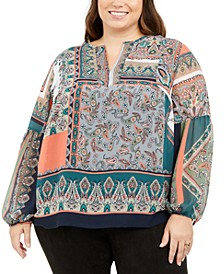 Plus Size Printed Split-Neck Top