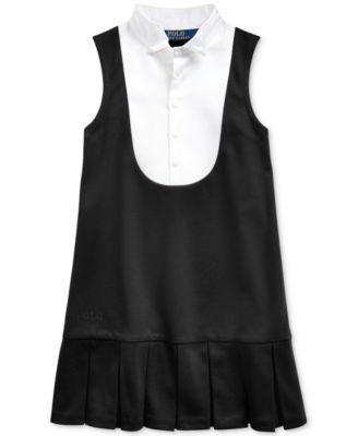 Toddler Girls Tuxedo-Bib Ponte Dress