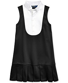 Little Girls Tuxedo-Bib Ponte Dress