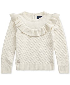 Little Girls Ruffled Metallic Sweater