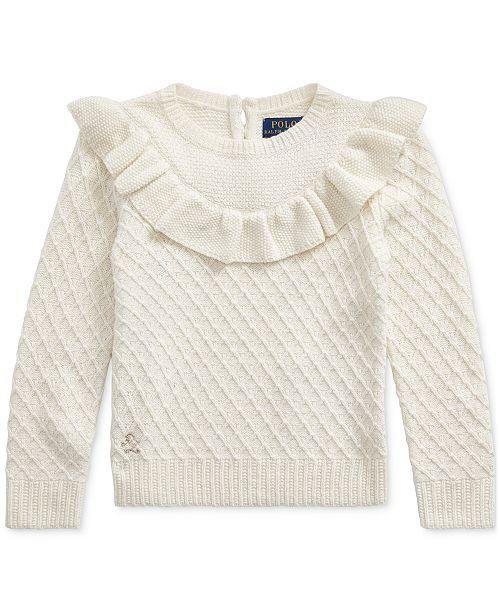Polo Ralph Lauren Toddler Girls Ruffled Metallic Sweater