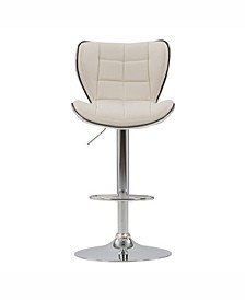 Distribution Adjustable Chrome Accented Fabric Barstool, Set of 2