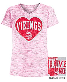 Big Girls Minnesota Vikings Heart Flip Sequin T-Shirt