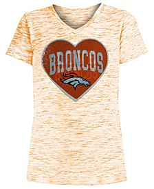 Big Girls Denver Broncos Heart Flip Sequin T-Shirt
