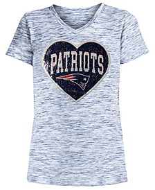 Big Girls New England Patriots Heart Flip Sequin T-Shirt
