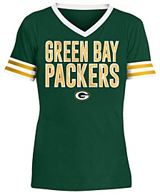 Big Girls Green Bay Packers Sequin Stripe T-Shirt