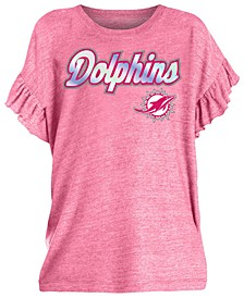 Big Girls Miami Dolphins Ruffle Foil T-Shirt