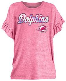 Big Girls Miami Dolphins Ruffle Foil T-Shirt