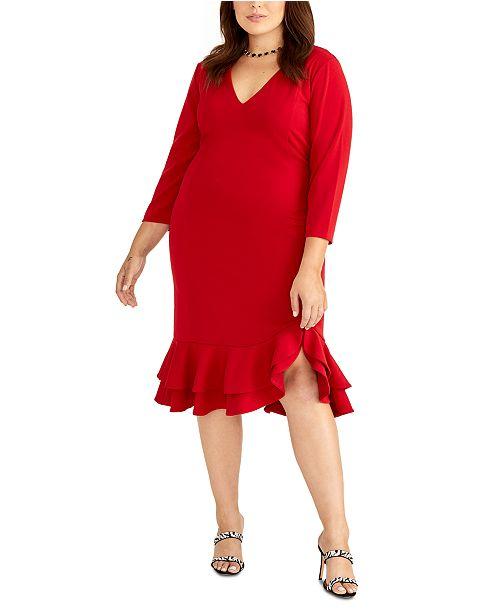 RACHEL Rachel Roy Plus Size Ruffle Midi Dress